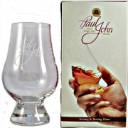 Glencairn crystal Whisky Tasting and Nosing Glass with the Paul John Indian Single Malt Whisky logo,buy online specialist whisky shop whiskys.co.uk