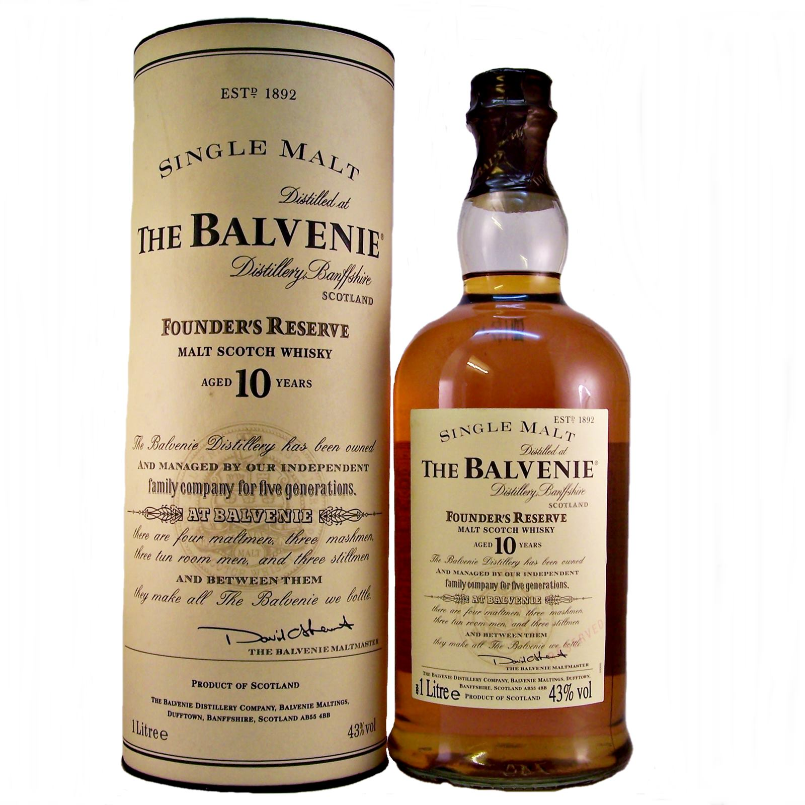 Balvenie single malt scotch whiskey