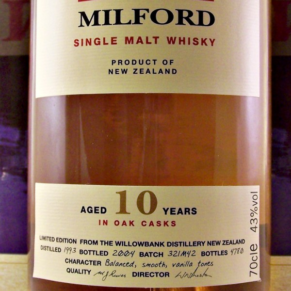 Milford Single Malt Whisky 10 year old