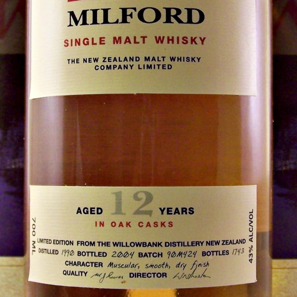Milford Single Malt Whisky 12 year old
