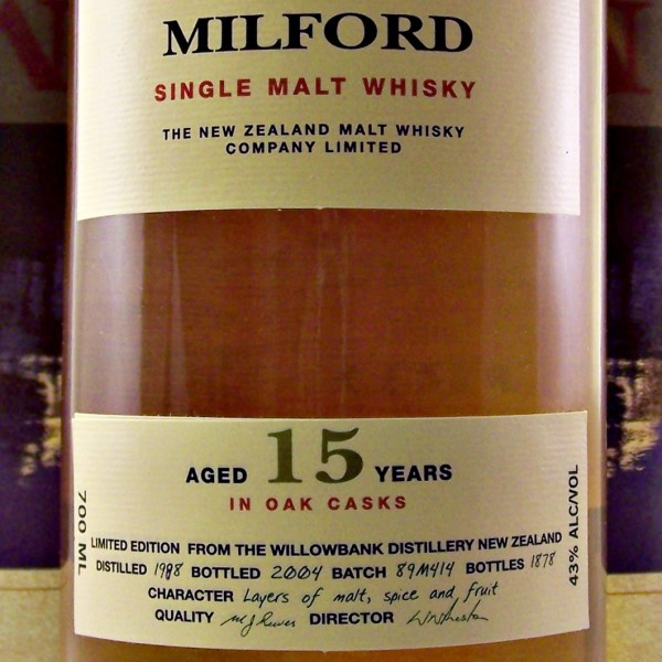 Milford Single Malt Whisky 15 year old