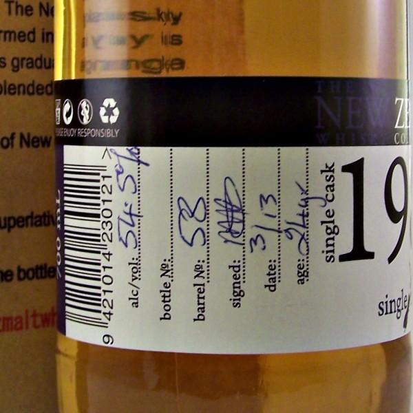 New Zealand 1989 Single Malt Whisky cask 58