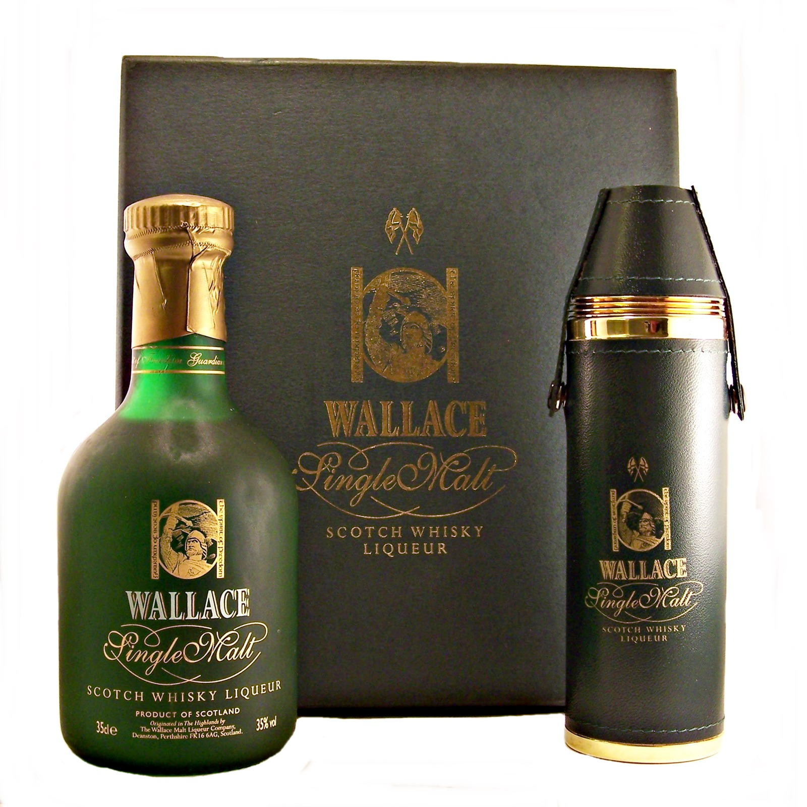 wallace single malt whisky liqueur gift set and hip flask. Black Bedroom Furniture Sets. Home Design Ideas