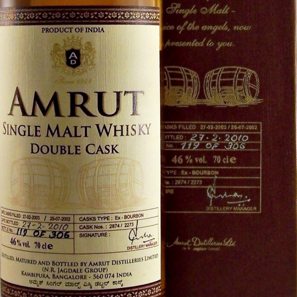 Amrut Double Cask Indian Single Malt Whisky first release