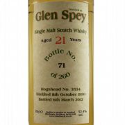 Glen Spey 21 year old Single Malt Whisky Bladnoch Forum