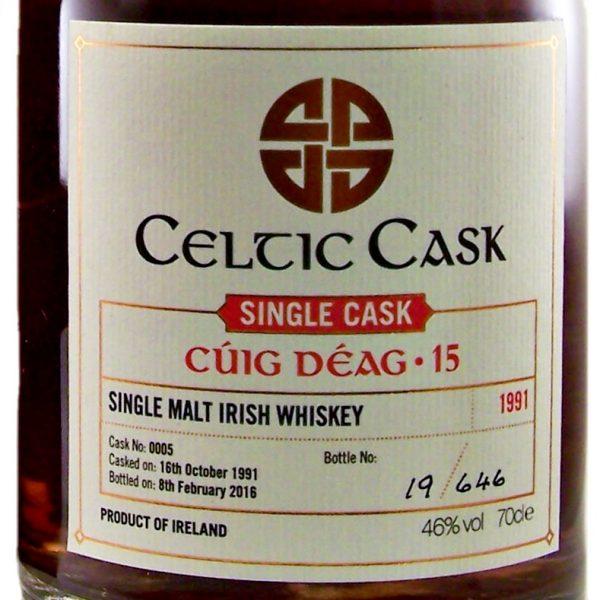Celtic Cask Cuig Deag 1991 Single Cask 15 Irish Whiskey