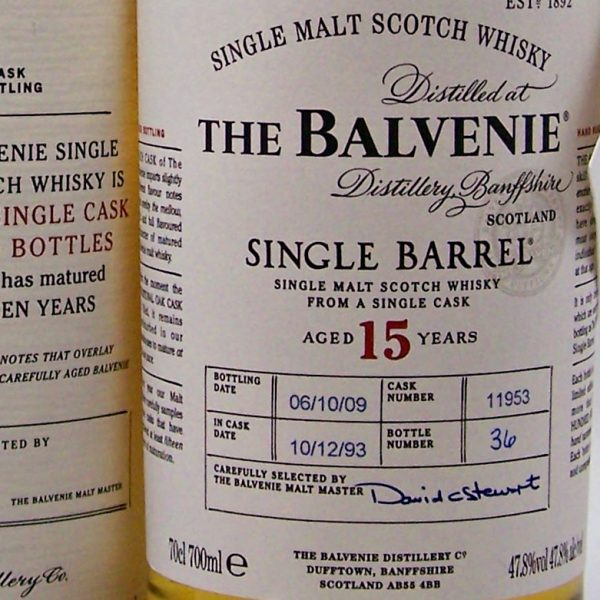 Balvenie 15 year old Single Barrel 1993 Malt Whisky