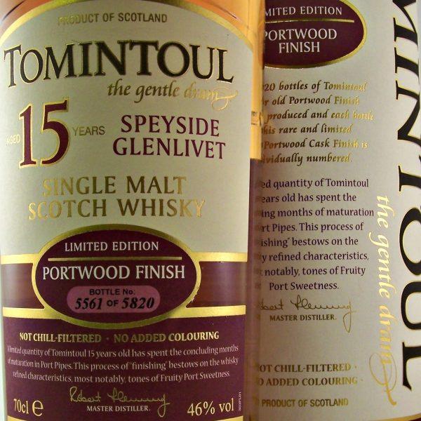 Tomintoul Portwood Finish 15 year old whisky