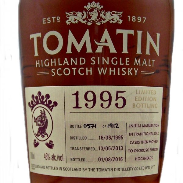 Tomatin 1995 21 year old Sherry Cask Finish