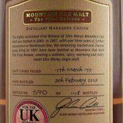 Glen Moray 1991 Mountain Oak Final Release Single Malt Whisky
