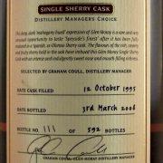 Glen Moray 1995 Single Sherry Cask Manager's Choice Whisky