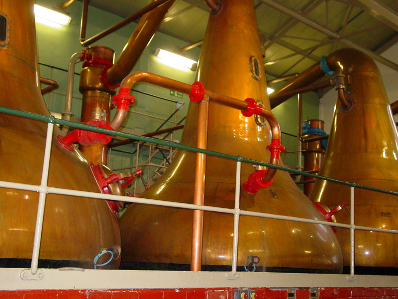 Lagavulin whisky distillery stills