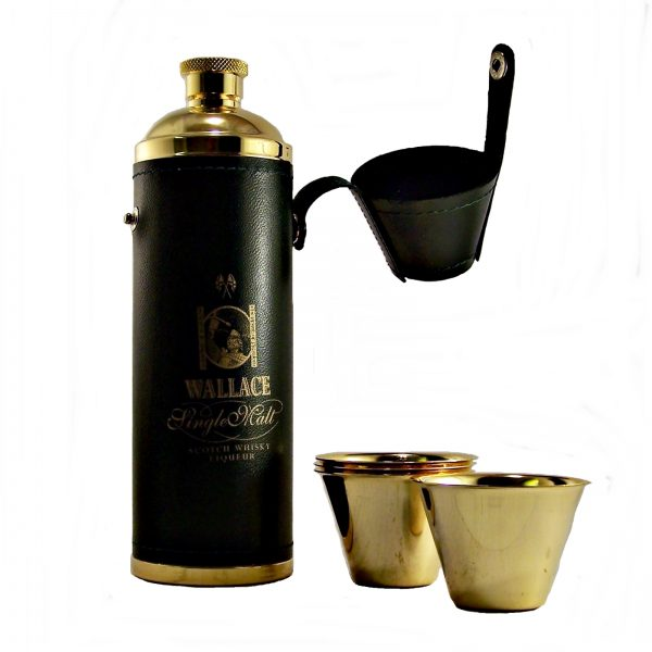 Wallace Single Malt Whisky Liqueur Gift Set Hip Flask