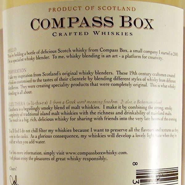 Compass Box Eleuthera Blended Malt Whisky