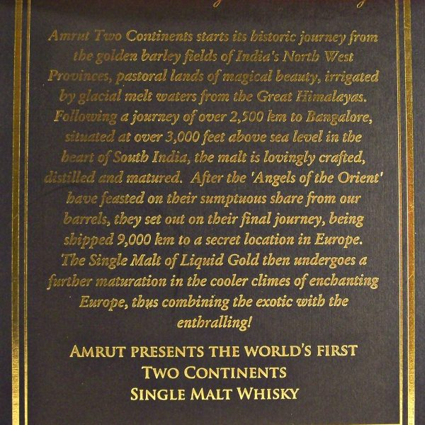 Amrut Two Continents Indian Single Malt Whisky Limited Edition