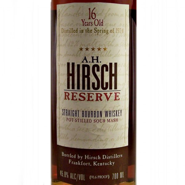 A H Hirsch Reserve 16 year old Bourbon 1974 Whiskey
