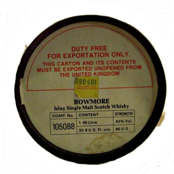 Bowmore 12 year old 1980's original export label on lid