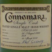 Connemara 1992  Single Cask Irish Whiskey Limited Edition