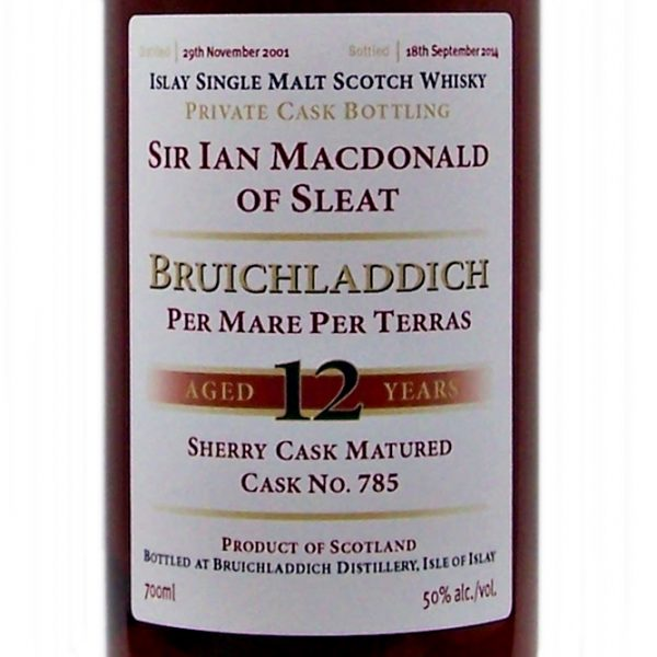 Bruichladdich 12 year old Private Cask Bottling blood tub sherry cask
