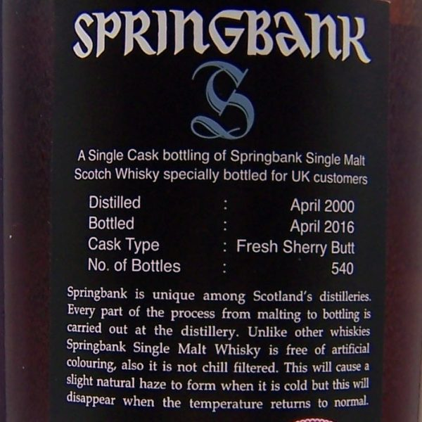 Springbank 16 year old Single Fresh Sherry Cask