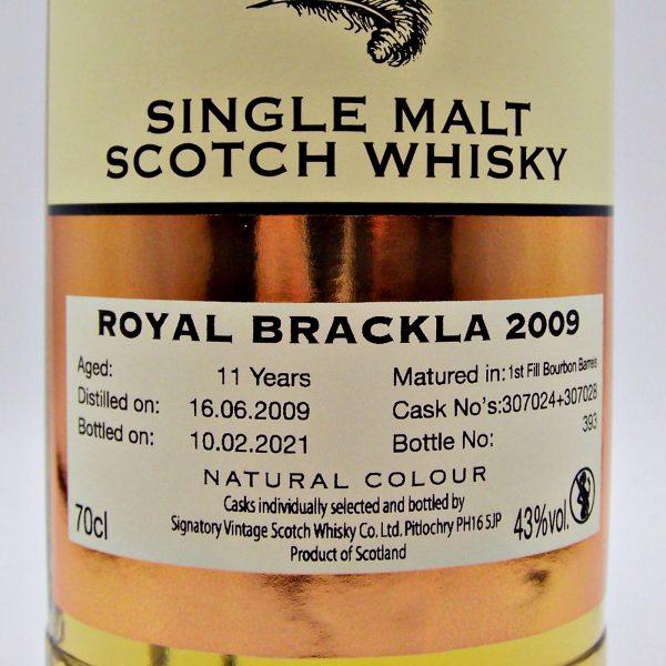 Royal Brackla 2009 Signatory Vintage Single Malt Scotch Whisky